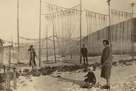 Fischernetze zum Trocknen aufgehängt